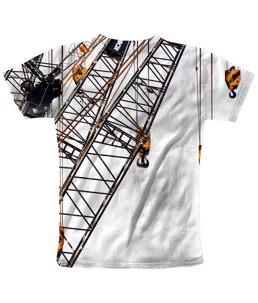 Freecultr Express Wonderful White & Brown Mech Levers Printed T Shirt