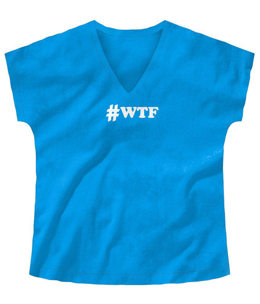 Freecultr Express Wtf Graphic White & Blue Half Sleeves T Shirt