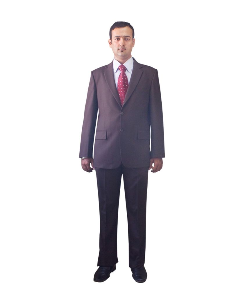 Kinger Brown Woollen Formal Suit