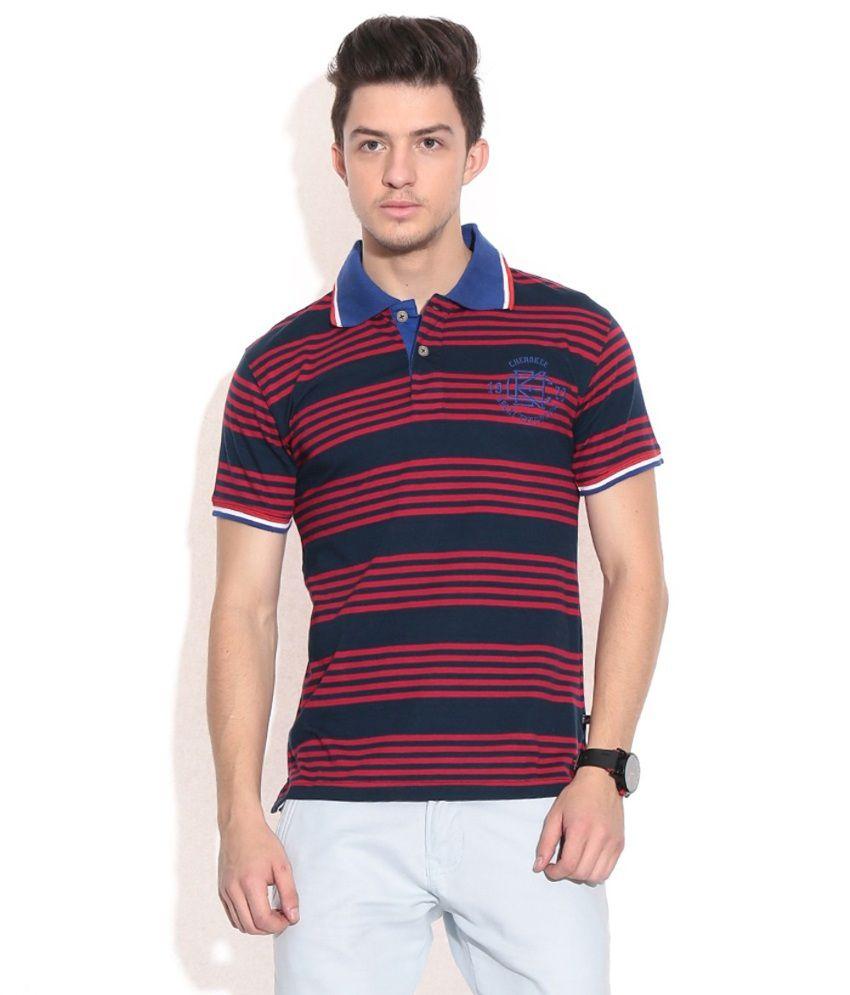 Kkr Yarns And Fabrics Multicolour Cotton Blend V-Neck Half Sleeves T-Shirt