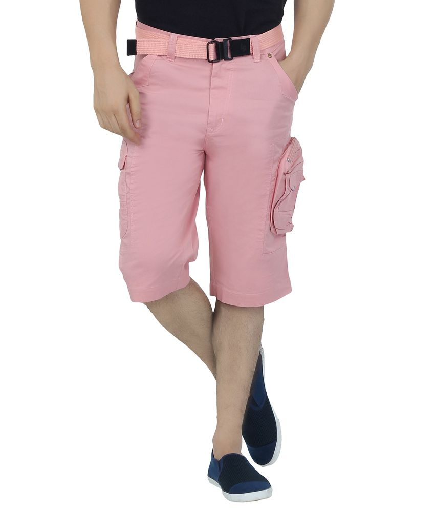 Ld Active Pink Solids Cotton Mens Three Fourths