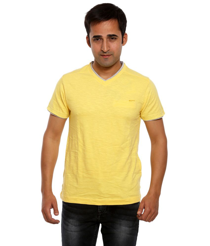 Mufti Yellow Cotton Blend Basics T-Shirt