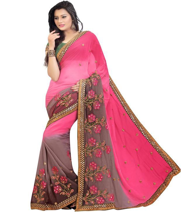 Suchi Fashion Pink Faux Chiffon Saree