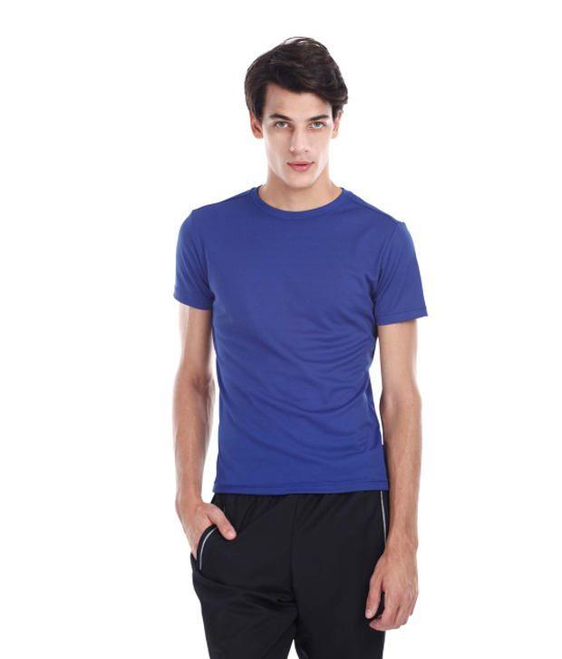 Zobello Blue Polyester Fitness T Shirt