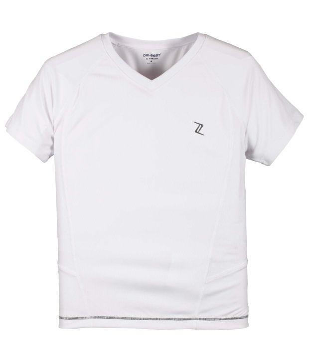Zobello White Polyester Fitness T Shirt