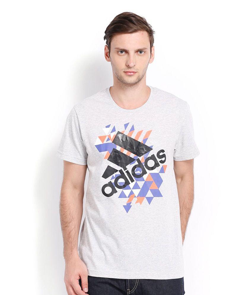 Adidas White Cotton Blend Energy Logo T-shirt