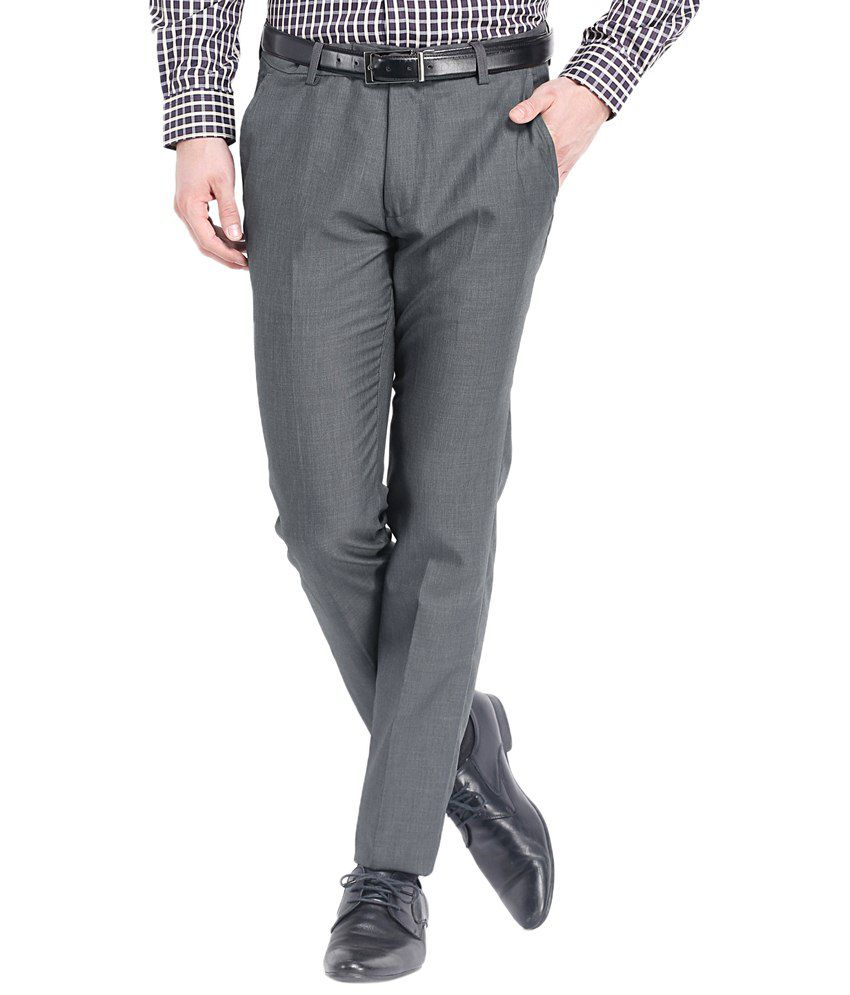 Black Coffee Attractive Gray Formal Trousers Sharp Fit