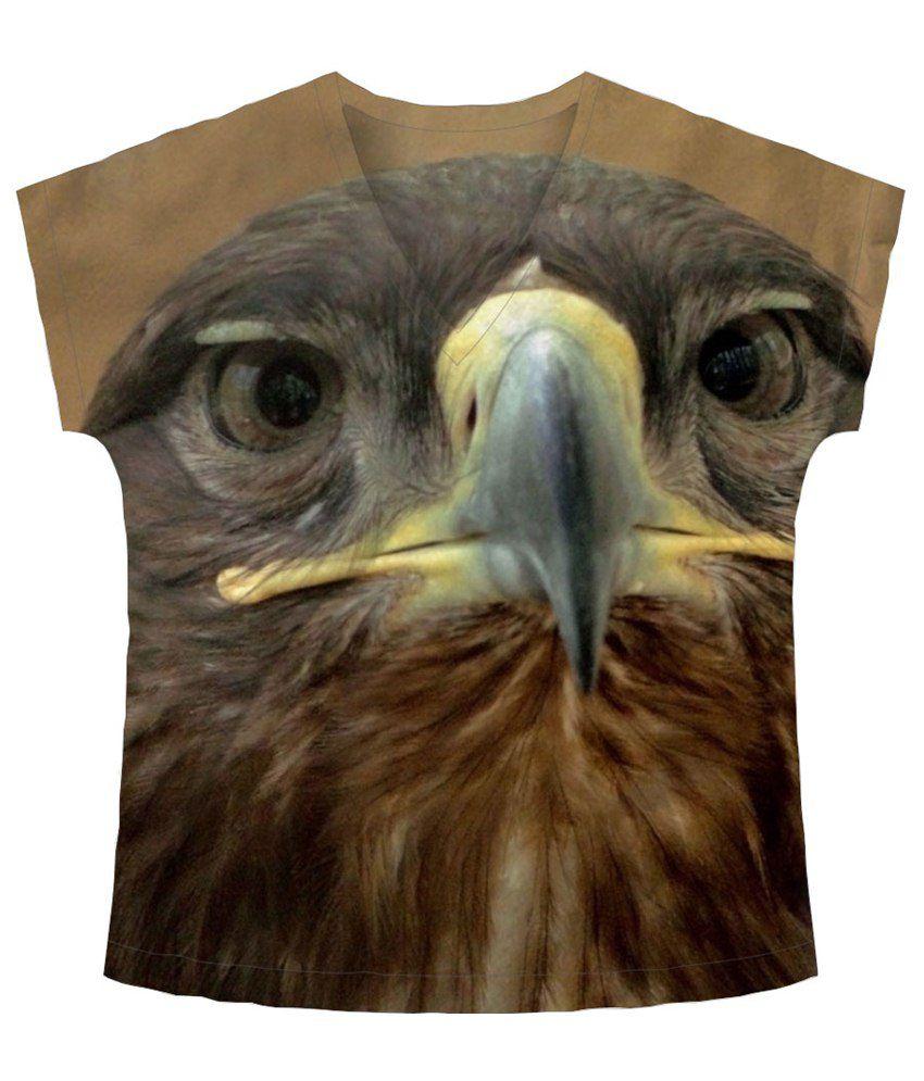 Freecultr Express Beige & Gray Beak V Neck Printed T Shirt
