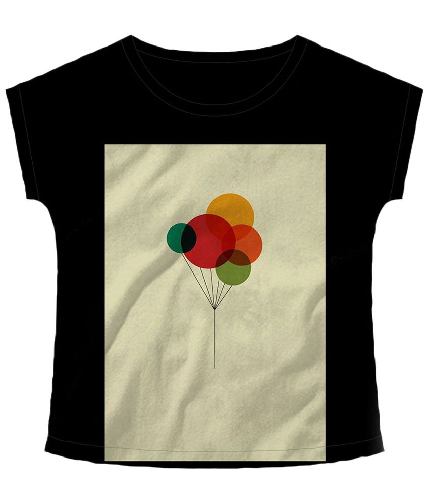 Freecultr Express Black & Beige Balloons Boat Neck Printed T Shirt