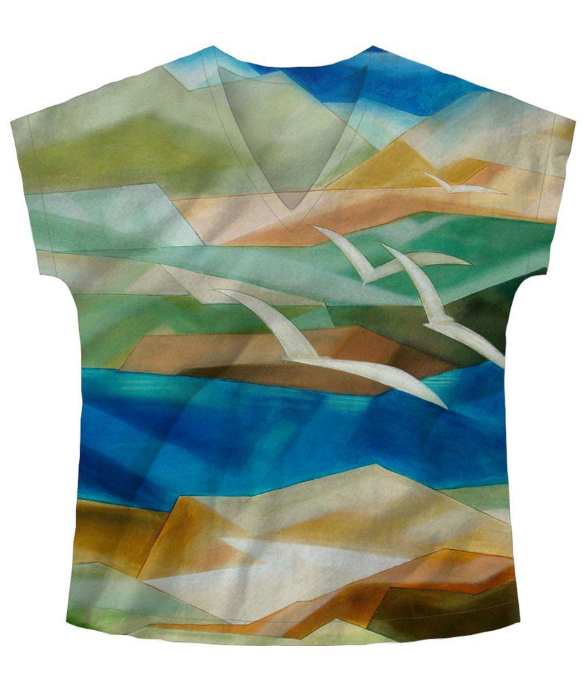 Freecultr Express Multicolour Fly V Neck Printed T Shirt