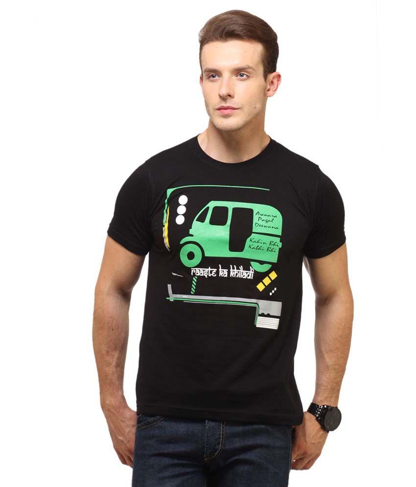 Insight Apparel Black Cotton Round Neck Men's T-Shirt
