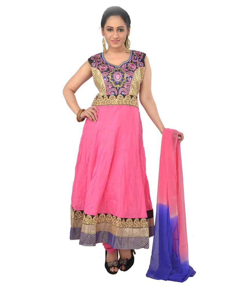 Manavi circle self Designer Pink Salwar suits