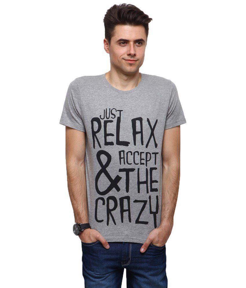 Yepme Engaging Gray Relax & Crazy T Shirt