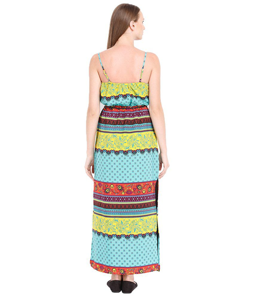 Folklore Blue Polyester Maxi Dress - Buy Folklore Blue Polyester ... cf4dd70cb