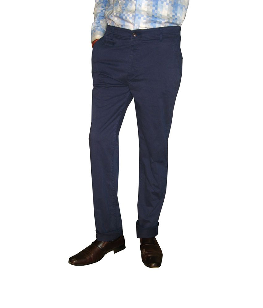 Maple Navy Cotton Regular Fit Casuals Chinos for Men