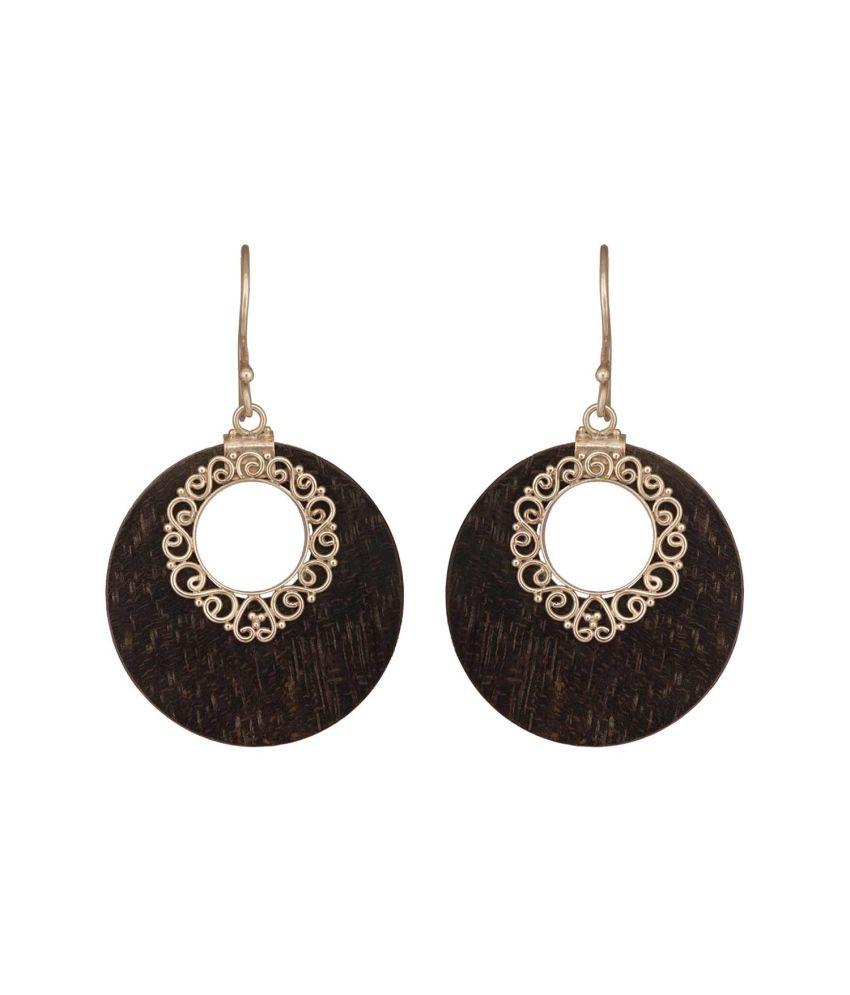Black Stone Earrings: Mirror White Beautiful Earrings Black Stone Hoops: Buy
