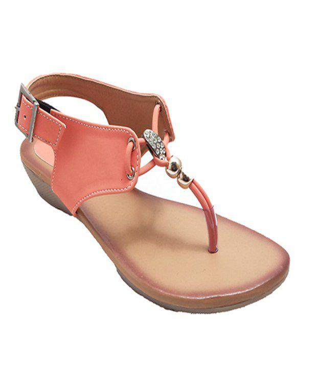 Bindass PeachPuff Heeled Sandals