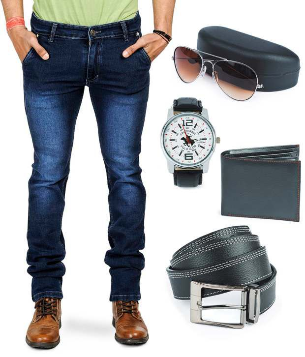 Eprilla Jeans Combo With Wallet, Belt, Sunglass and Watch