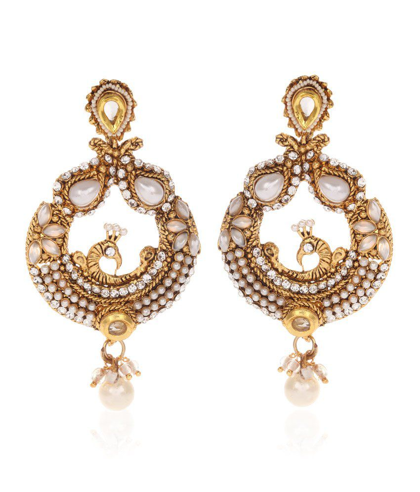 Jewels Galaxy Mayur Design Pearls Embedded Earrings