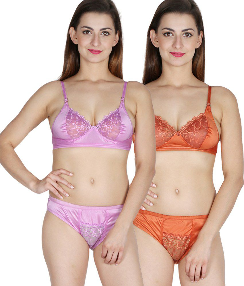 7f502b737 Buy Nutex Sangini Multi Color Satin Bra   Panty Sets Pack of 2 Online at Best  Prices in India - Snapdeal