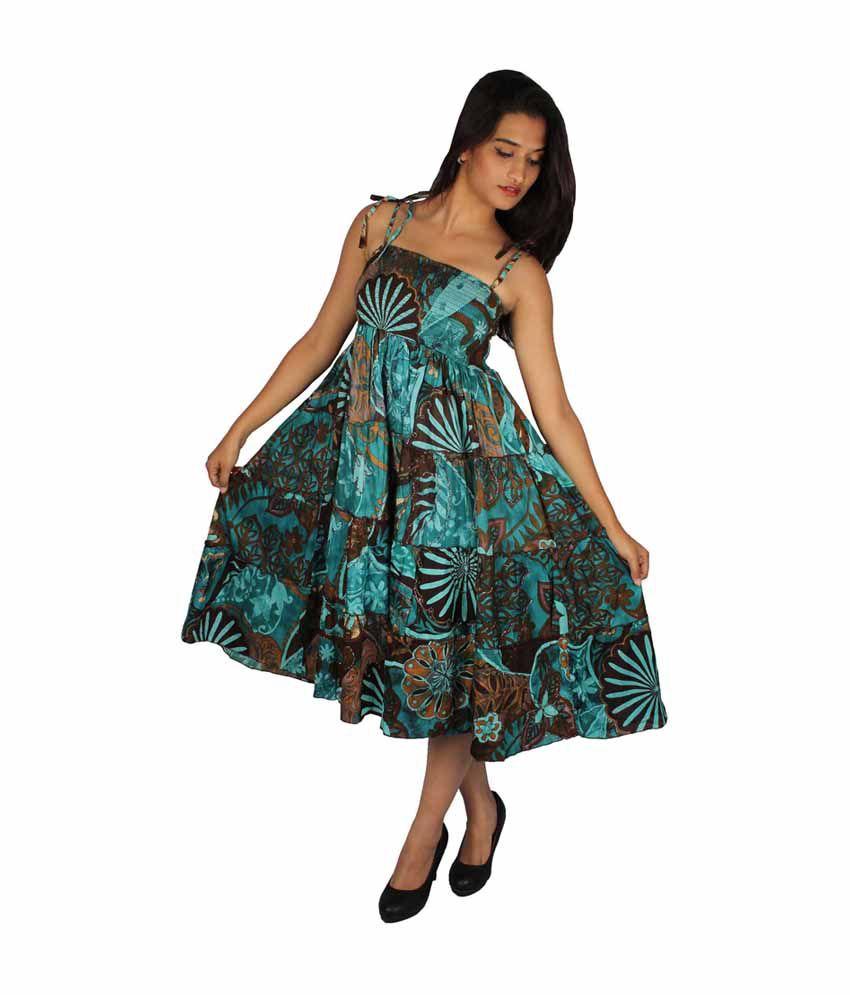 True Fashion Turquoise Cotton Dresses