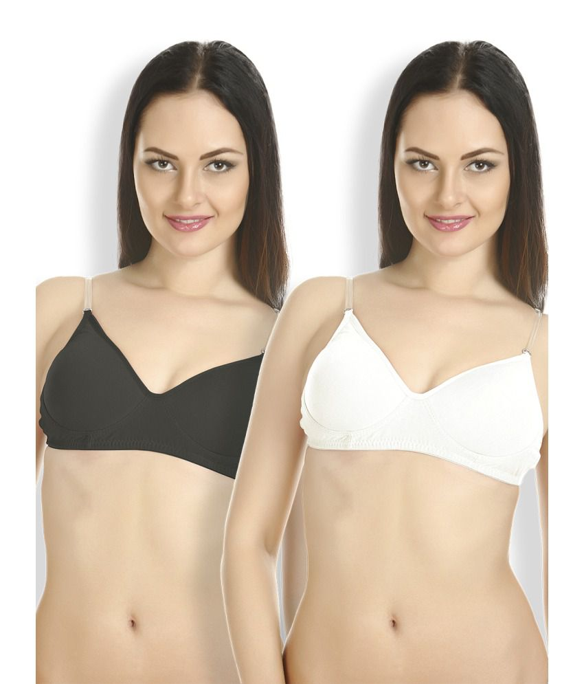 Tweens Multi Color Cotton Padded Bra Pack of 2