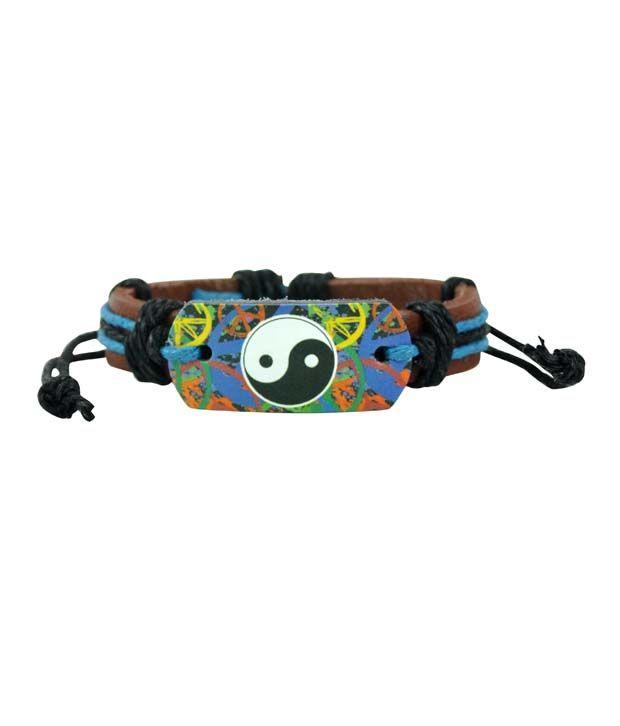 Alpha Man Karate Black Belt Black - Blue Thread-woven Dark Brown Strap Faux Leather Bracelet