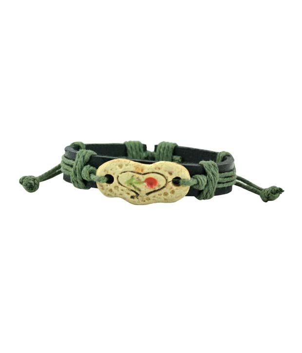 Alpha Man With An Arrow, Engraved Heart Olive Green On Brown Faux Leather Bracelet
