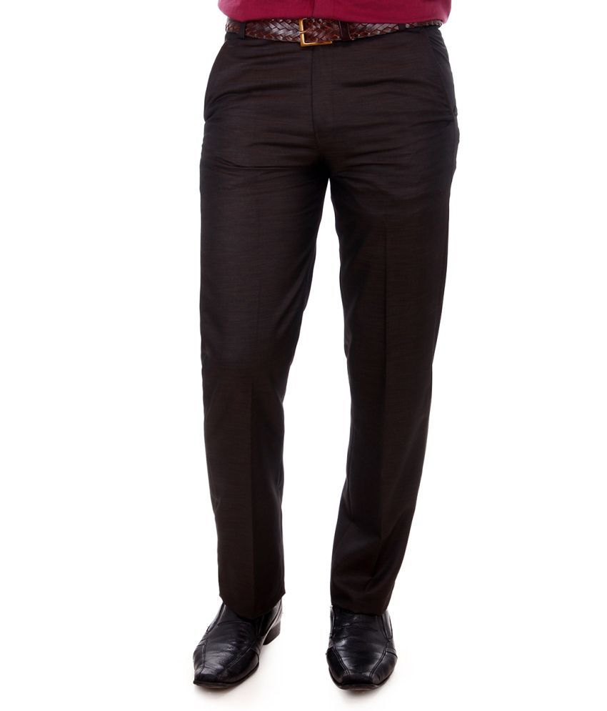 Addiction Brown Poly Viscose Comfort Fit Formal Trouser
