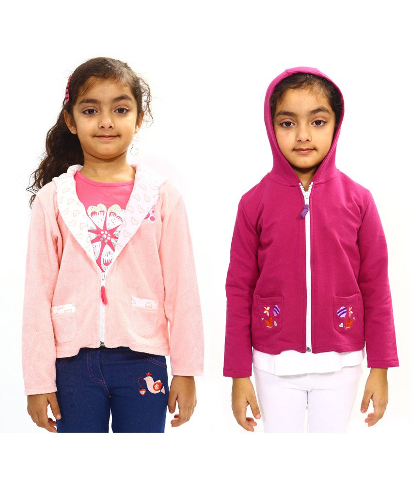 Bio Kid Multicolour Cotton Full Sleeve Padded Jackets With Hood - Pack Of 2