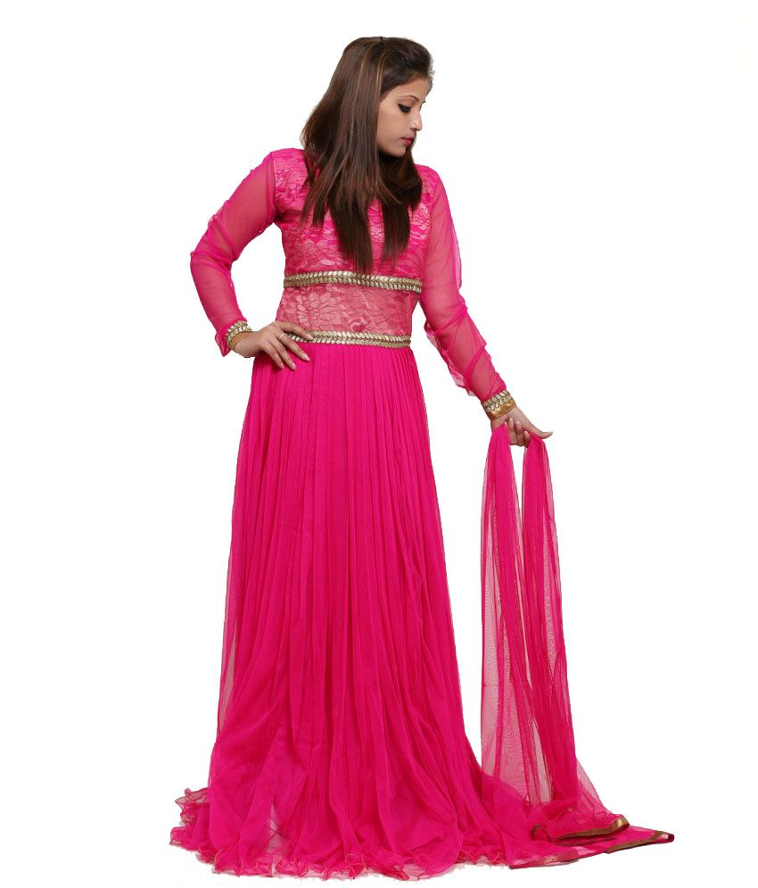 Chawla Agencies Pink Embroidered Net Salwar Suit