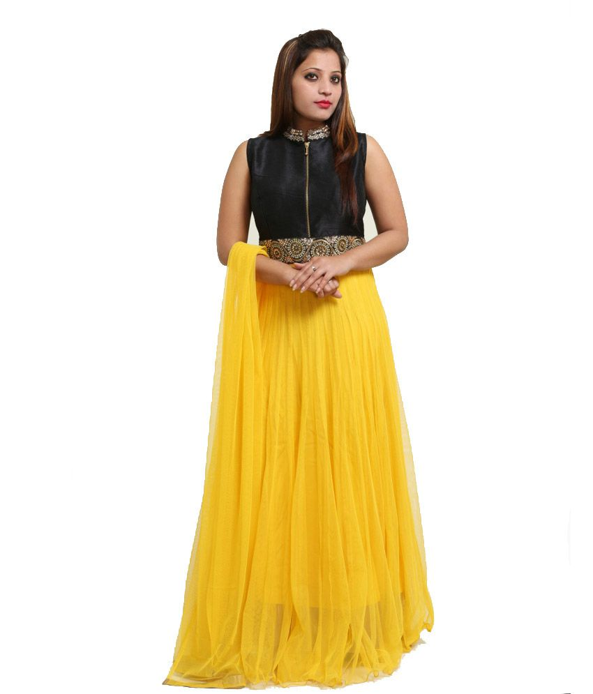 Chawla Agencies Yellow Embroidered Net Salwar Suit