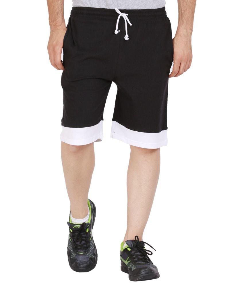 Checkersbay Mens Black Sports Solids Shorts