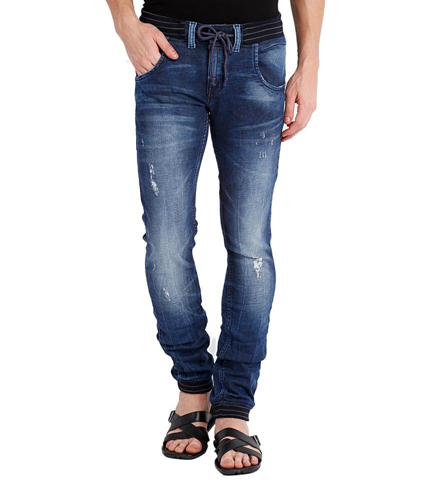 Locomotive Blue Cotton Blend Joggers Denim Jeans Jogger Slim Fit