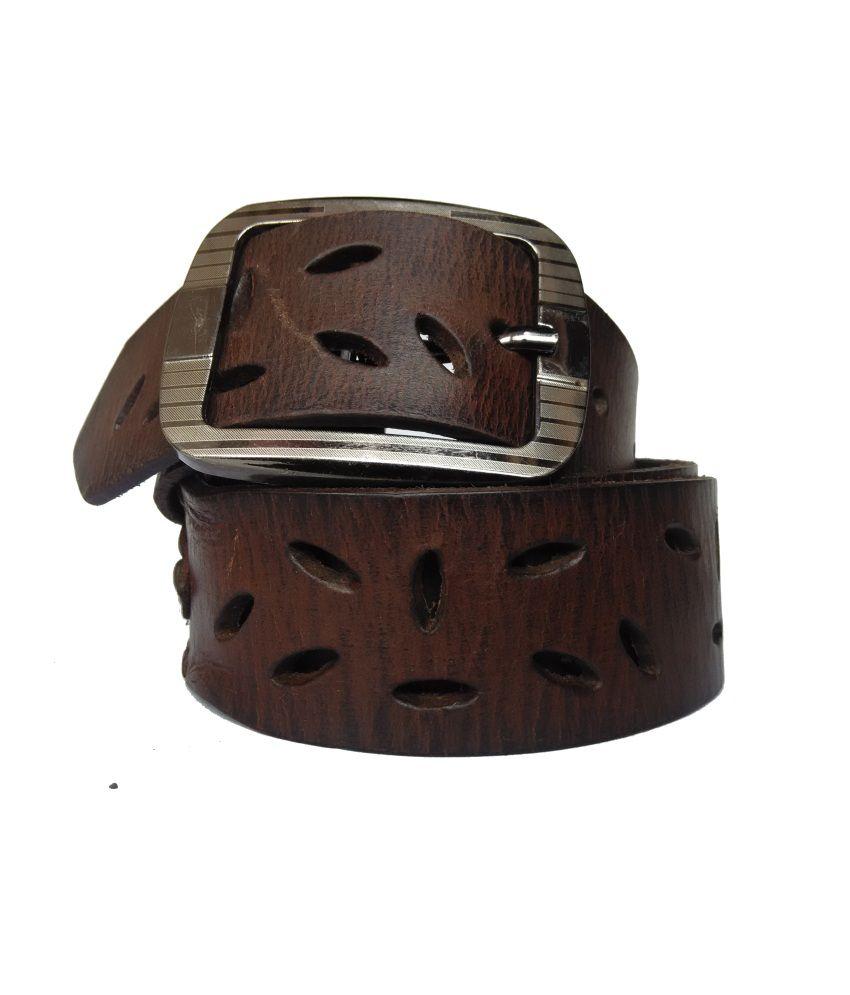 Pranjali Brown Leather Belt For Men