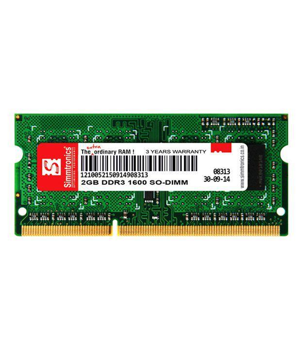 Simmtronics Laptop Ram Ddr3 2 Gb 1600mhz(l)
