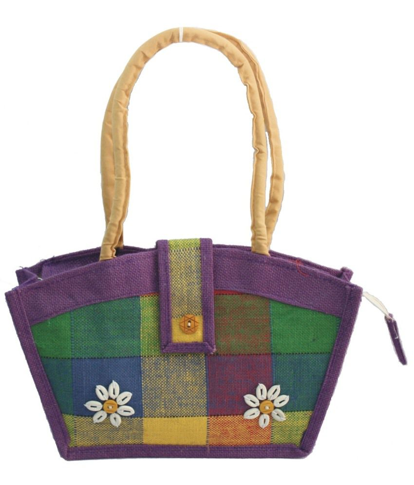 Vakula Exports Purple Jute Shoulder Bags