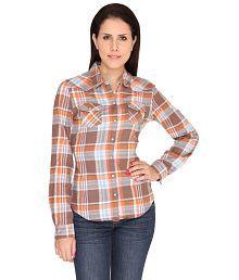 Bedazzle Orange Cotton Shirts