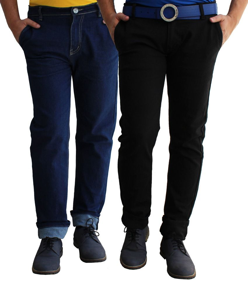 Alan Woods Blue Cotton Jeans Set of 2