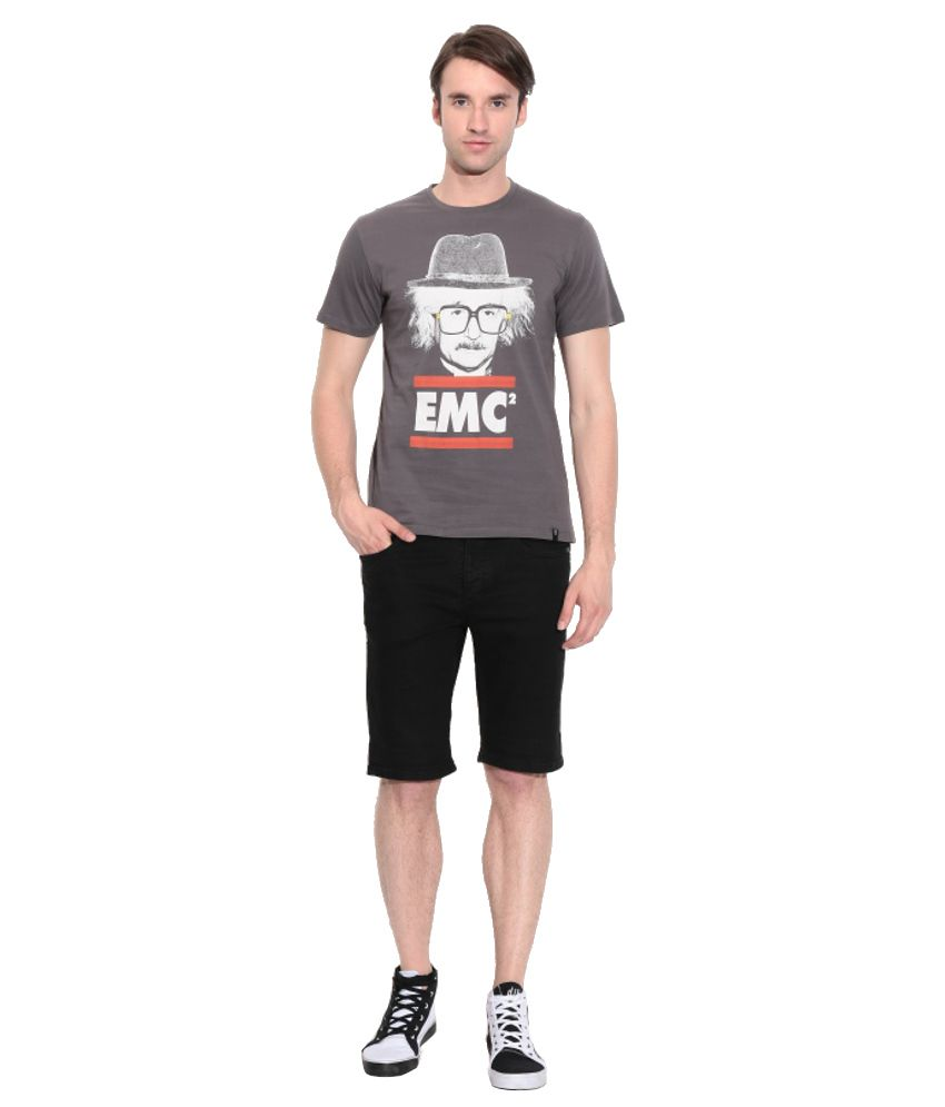 Einstein Gray Cotton Printed T-Shirt