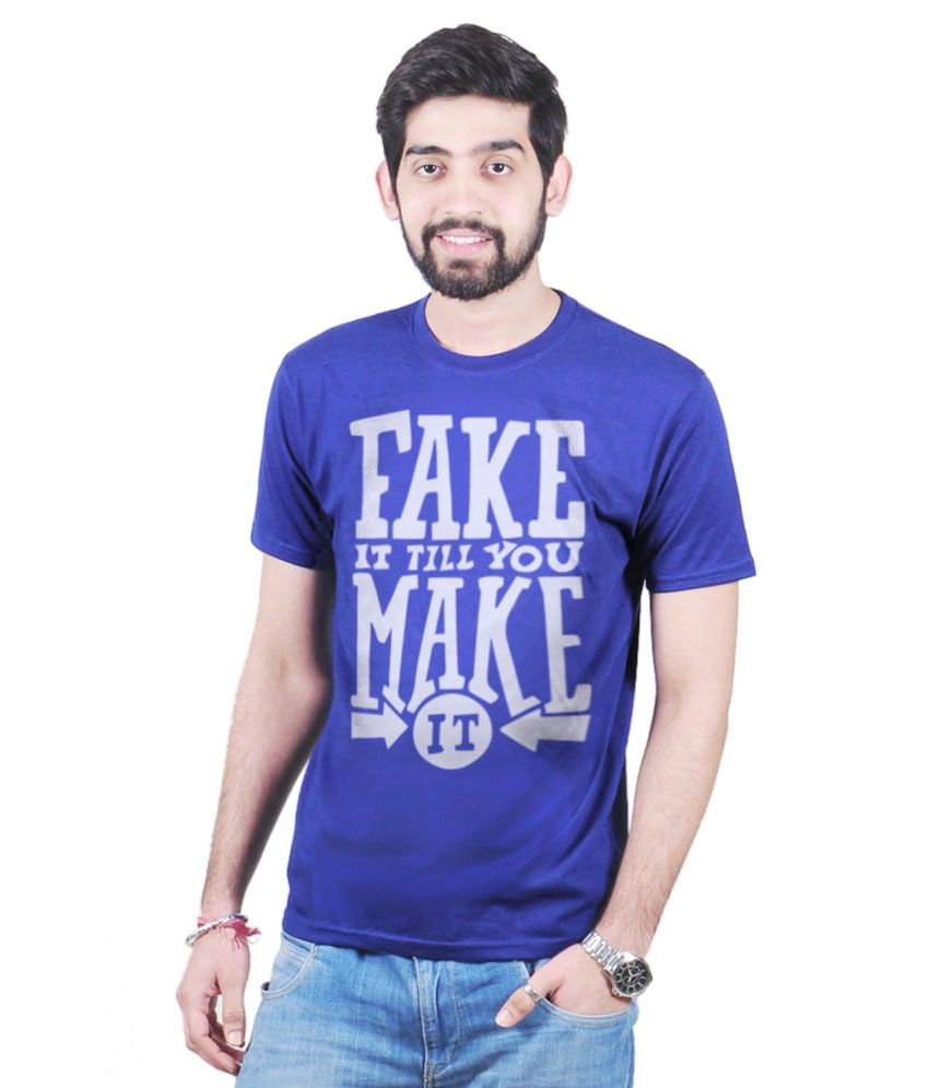 Inkvink Blue Cotton T-shirt For Women