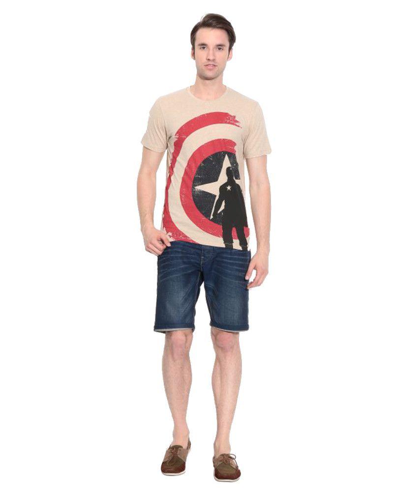 Disney Marvel Beige Cotton Printed T-Shirt