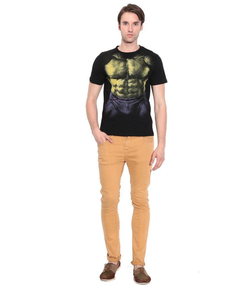 Disney Marvel Black Cotton Printed T-Shirt