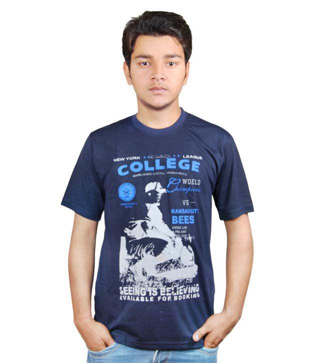 Robin Cotton Hossiery Round Neck Navy Blue Tshirt