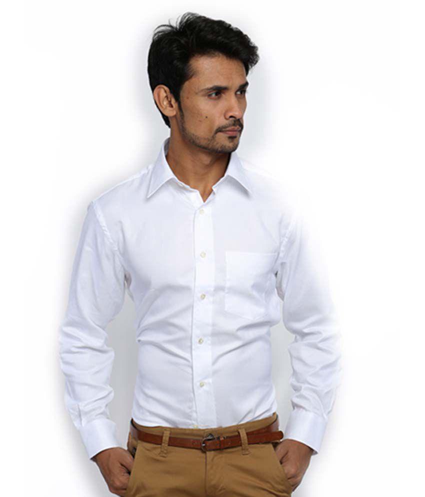 ed08cbde1a4b ... Zodiac White 100 Percent Cotton Full Sleeves Formal Shirt For Men ...