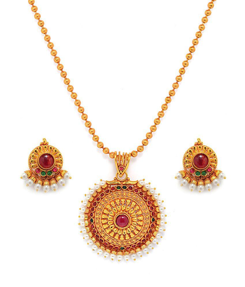 Alankruthi Gold Plated Traditional Wedding & Engagement Wear Necklace Set