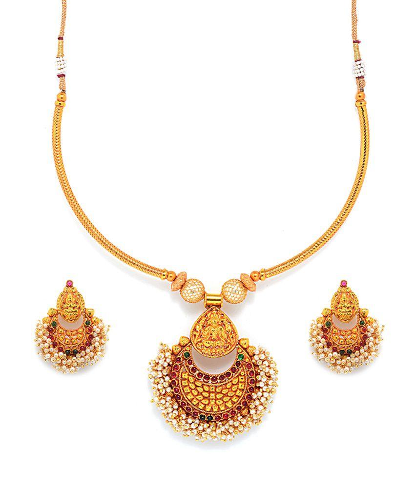 Wedding Wear Bridal Gold Necklace Set Rs 150000 Set: Alankruthi Gold Plated Traditional Wedding & Engagement
