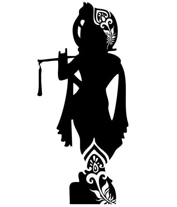 studio briana black standing krishna with flute silhouette