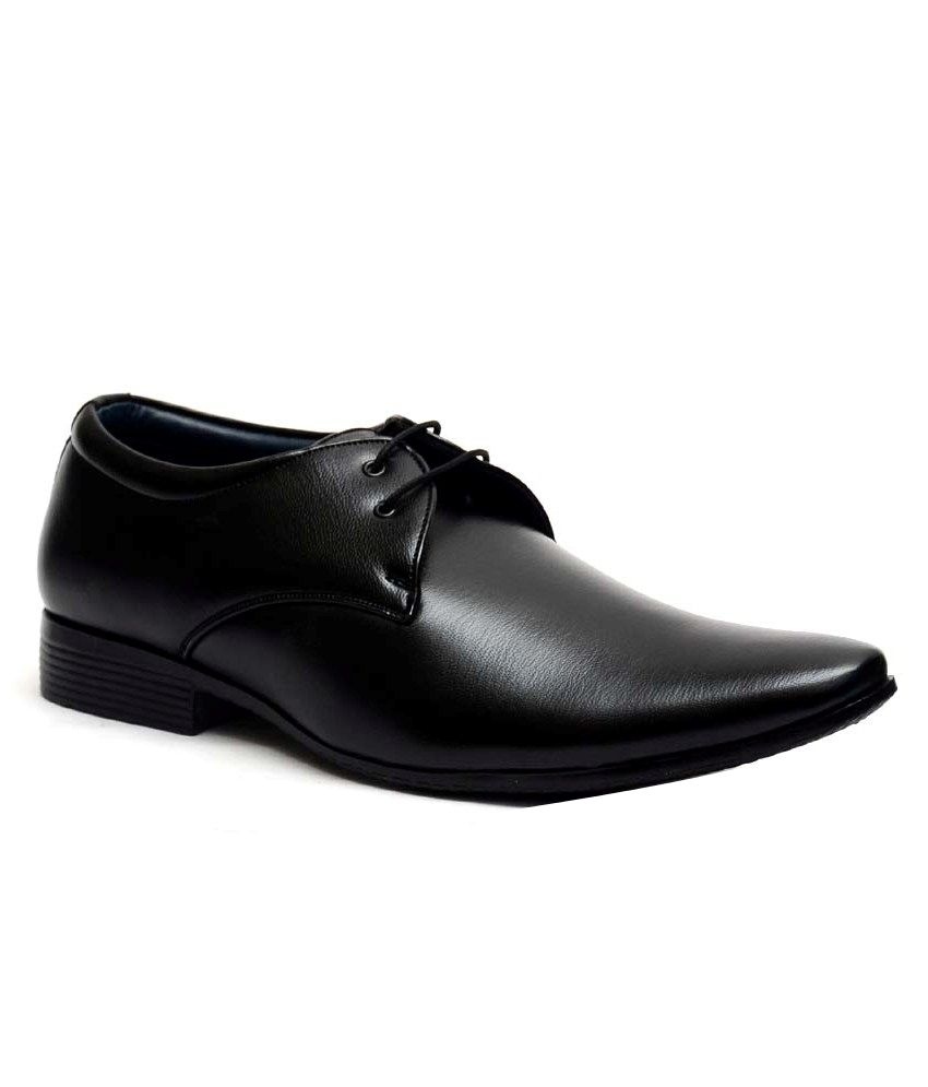 WONKER Black Oxfords Artificial Leather Formal Shoes