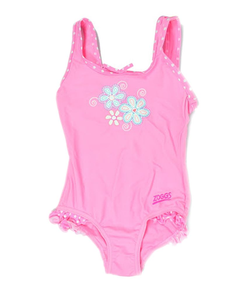 Zoggs Girls Sunshine Beach Scoopback Swimwear Pink21 39029721/ Swimming Costume